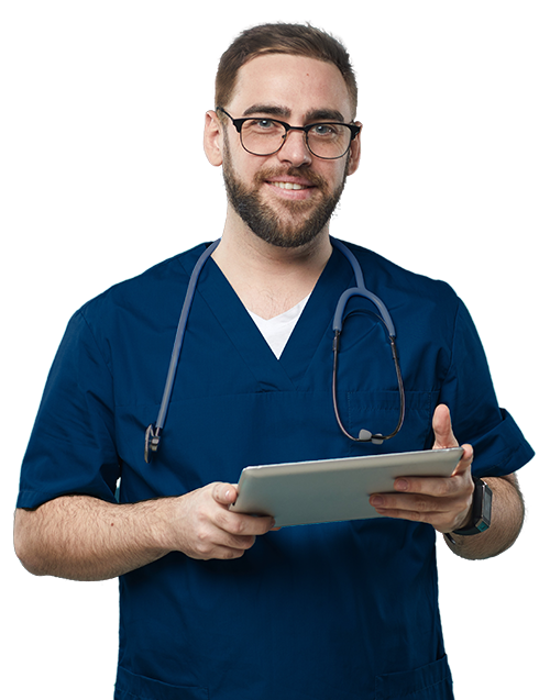 Nurse with computer tablet using registry reporting softtware on tablet