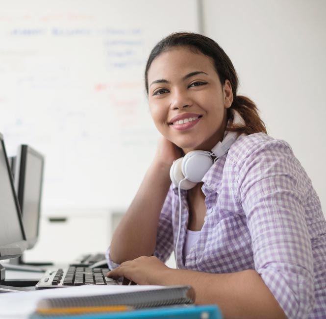 Woman smiling and scheduling a software demo with Cedaron