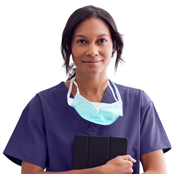 Nurse smiling at camera and holding tablet