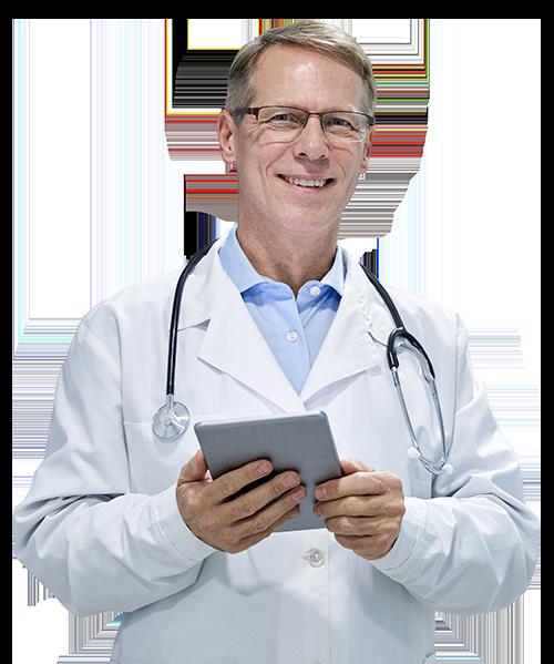 Doctor in white coat holding tablet